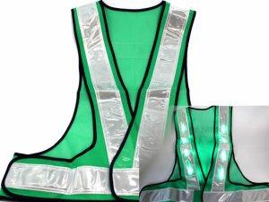 画像1: LED16個点滅 夜光チョッキ 6cm幅 グリーンメッシュxシルバー反射 緑色点滅(鉄道・高速関連)