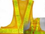 黄色LED16個点滅 夜光チョッキ 6cm幅 黄メッシュ・イエロー反射 黄色点滅(鉄道工事・列車見張用)