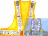青色LED16個点滅 夜光チョッキ 6cm幅 黄メッシュxシルバー反射 青色点滅(高速関連)