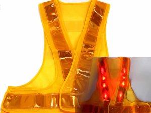 画像1: 赤色LED16個点滅 夜光チョッキ 6CM幅 黄メッシュ・黄反射(明るい)