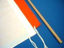 他の写真1: 手旗 綿(赤または白) 38X38cm 棒付き
