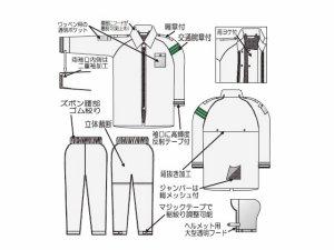 画像3: 警備 雨合羽 上衣 ズボン付 レインストーリー530 ナイロン 【袖反射付】