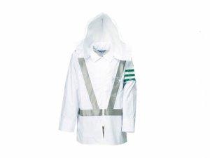 画像1: 警備 雨合羽 上衣 ズボン付 レインストーリー540 ナイロン 【V字反射付】