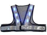 夏用 サマーメッシュ 青色 LED安全ベスト ショート丈40cm 紺メッシュxシルバー反射