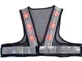 夏用 サマーメッシュ 赤色 LED安全ベスト ショート丈40cm 紺メッシュxシルバー反射