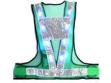 夏用 サマーメッシュ 青色 LED安全ベスト グリーンメッシュxシルバー反射 台形反射付き