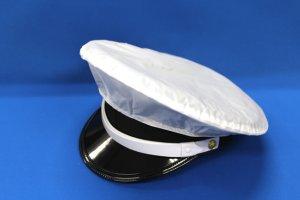 画像1: 制帽カバー ナイロン 白(雨覆)