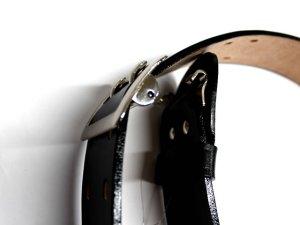 画像5: 一枚革帯革(たいかく) 50mm幅 白・黒 つめ金具バックルひっかけ式