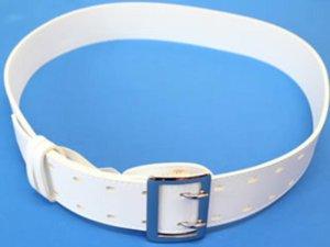 画像3: ビニール帯革(たいかく) つめ金具バックルひっかけ式 50mm幅 白・黒