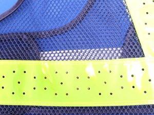 画像3: 夏用 サマーメッシュ安全ベスト ショート丈40cm 紺メッシュxイエロー反射