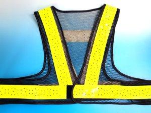 画像1: 夏用 サマーメッシュ安全ベスト ショート丈40cm 紺メッシュxイエロー反射