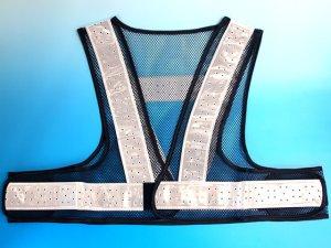 画像1: 夏用 サマーメッシュ安全ベスト ショート丈40cm 紺メッシュxシルバー反射