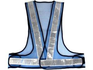 画像2: 夏用 サマーメッシュ安全ベスト 台形シート付 ブルーxシルバー反射