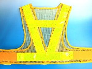 画像2: 夏用 サマーメッシュ安全ベスト ショート丈40cm 黄メッシュxイエロー反射