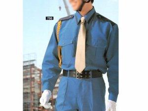 画像1: 夏 警備用 長袖カッター ブルーツートン