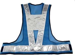画像3: 青色LED16個点滅 夜光チョッキ 6CM幅 ブルーメッシュ・シルバー反射(明るい)【背面 台形反射シート付き】