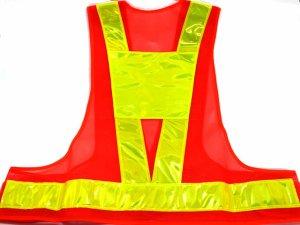 画像1: 夜光チョッキ・安全ベスト  6cm幅 オレンジメッシュ・イエロー反射 台形反射シート付き