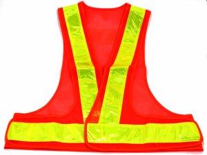 画像2: 夜光チョッキ・安全ベスト  6cm幅 オレンジメッシュ・イエロー反射 台形反射シート付き