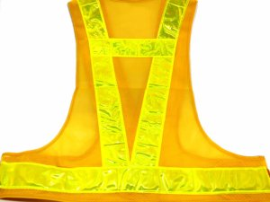 画像2: 夜光チョッキ・安全ベスト  6cm幅 黄メッシュ・イエロー反射