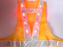 他の写真2: 赤色LED16個点滅 夜光チョッキ 6cm幅 黄メッシュ・シルバー反射(明るい)