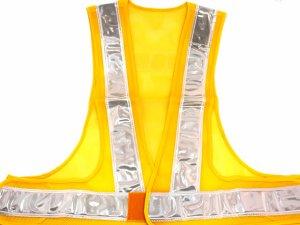 画像1: 夜光チョッキ・安全ベスト  6cm幅 黄メッシュ・シルバー反射