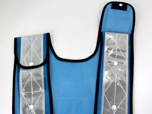 画像4: 夜光チョッキ 7cm幅 幅広 ブルーメッシュ・シルバー反射 サイズ調整ベスト