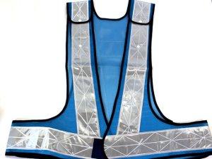 画像1: 夜光チョッキ 7cm幅 幅広 ブルーメッシュ・シルバー反射 サイズ調整ベスト